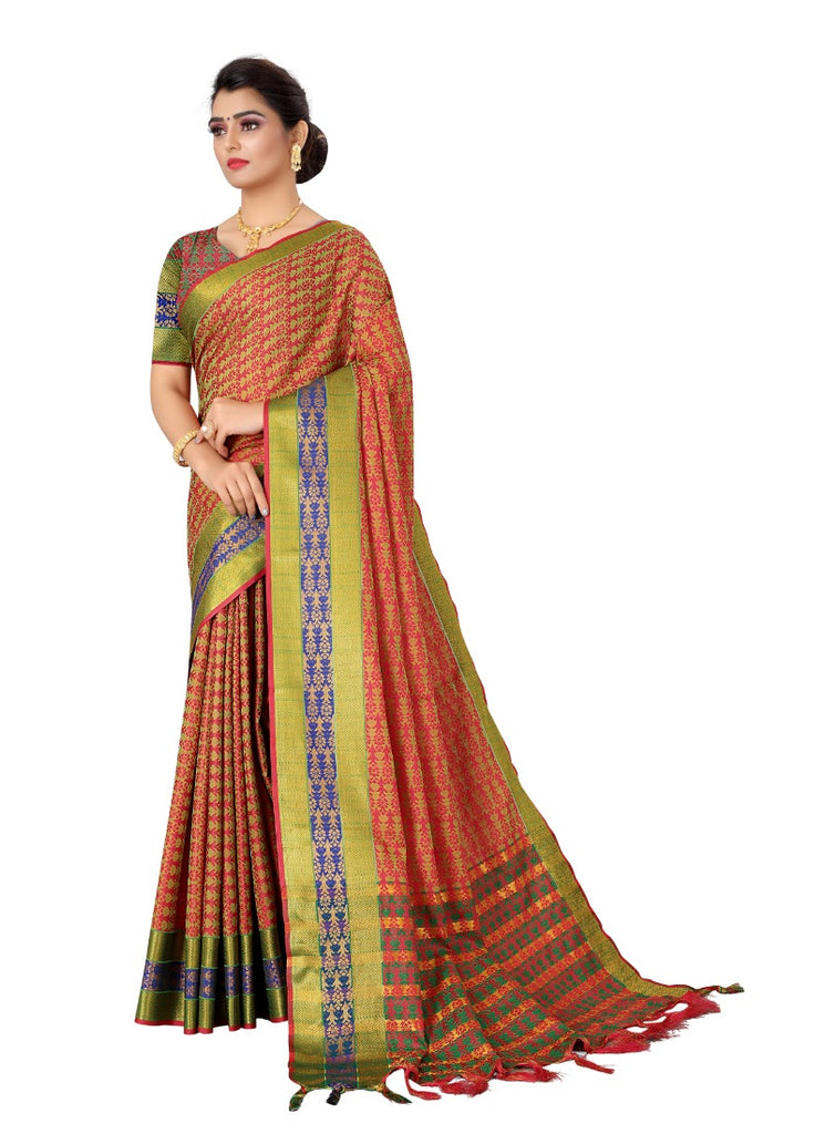 Generic Women's Tansui Silk Saree(Red  ,5-6Mtrs)
