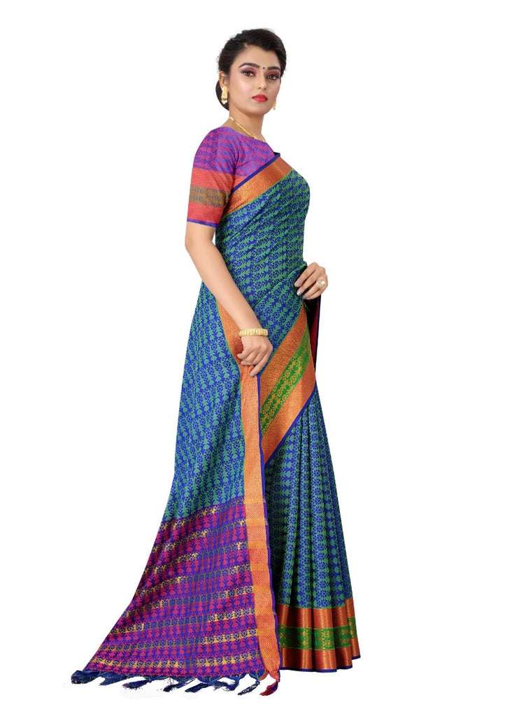Generic Women's Tansui Silk Saree(Blue  ,5-6Mtrs)