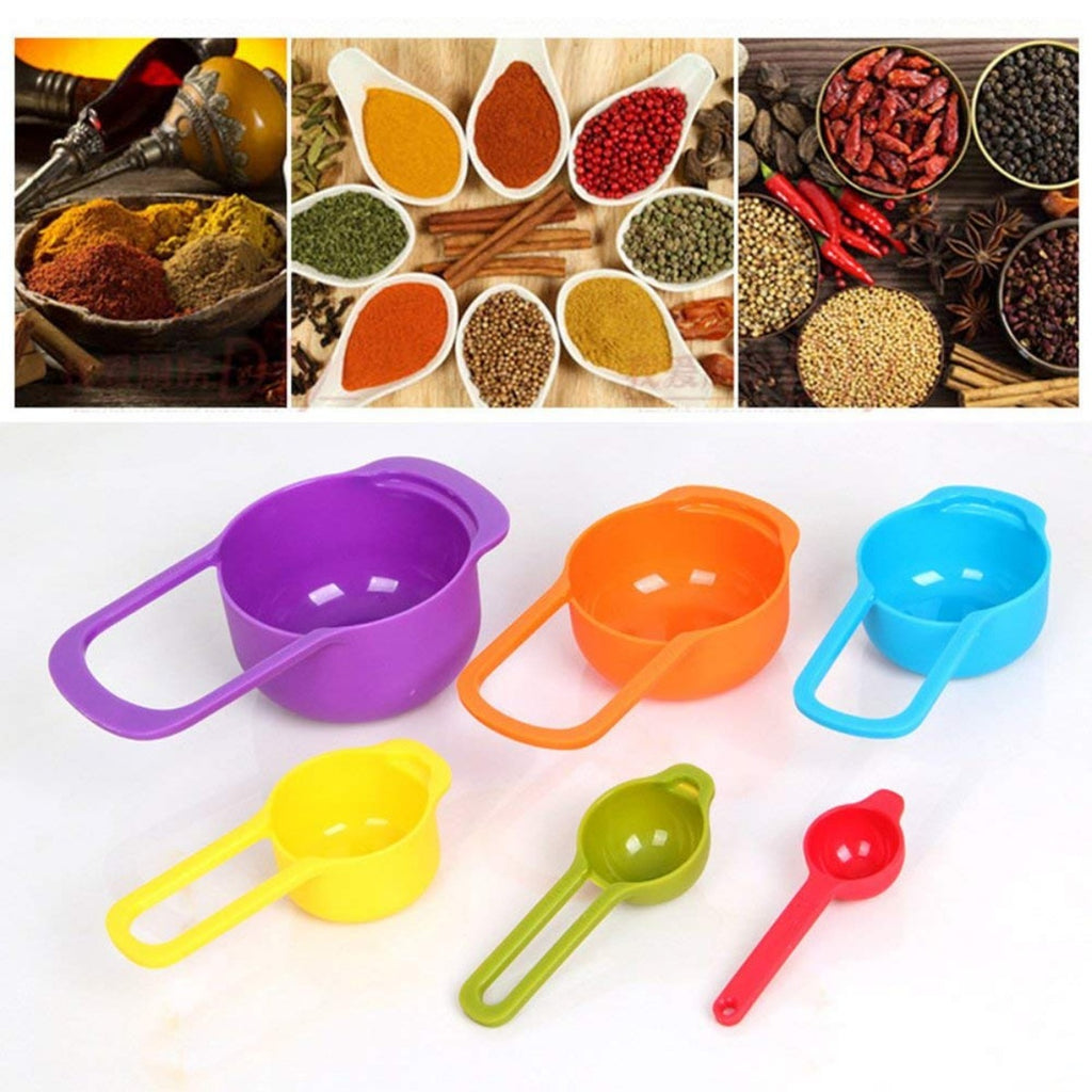 Generic Pack of 2_6 pcs Set Plastic Colorful Measuring Spoon Measuring Cup (Color: Assorted)