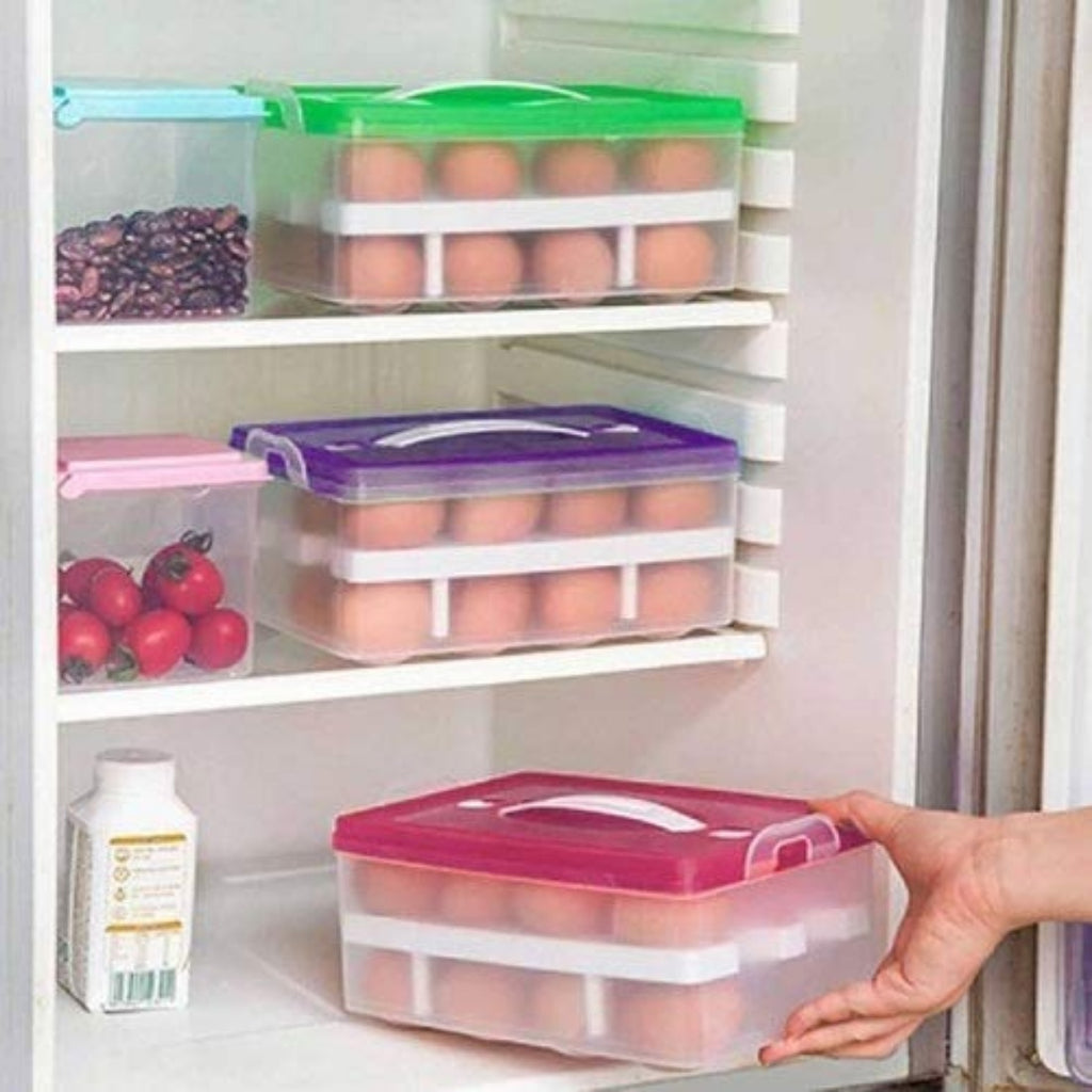 Generic Double Layer Egg Storage Box (Color: Assorted)