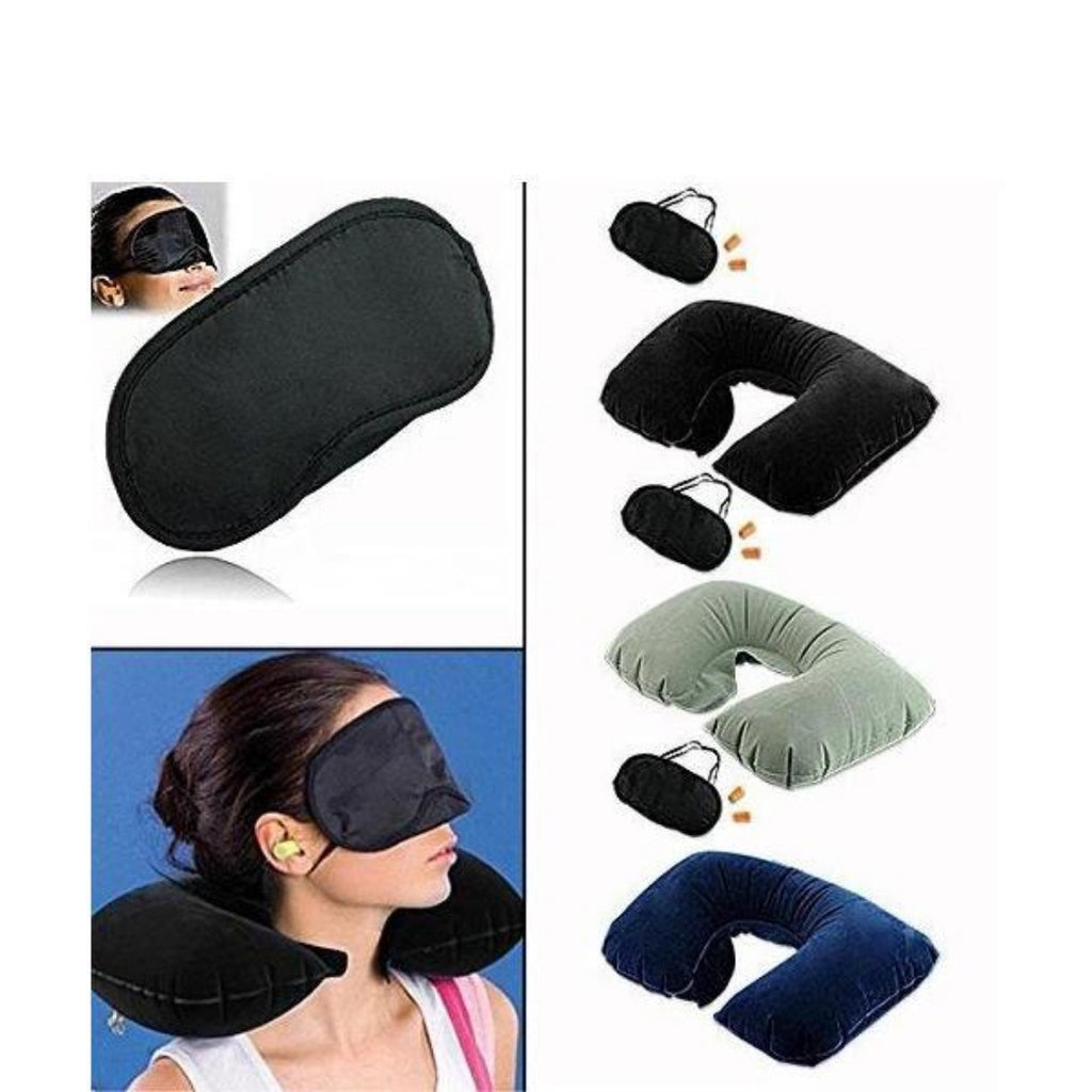 Generic Air Travel Kit with Pillow, Ear Buds & Eye Mask (Color: Assorted)