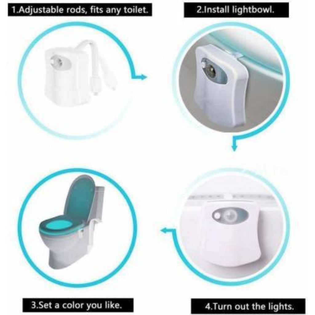 Generic LED Light Sensor Motion Activated Glow Bowl Light Up Sensing Toilet Seat Night Lightning Bowl (Color: Assorted)