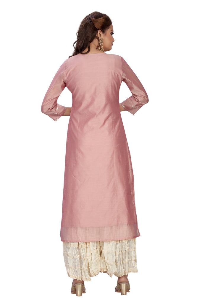 Peach Color Elegant Designer Chanderi Kurti with Palazzo