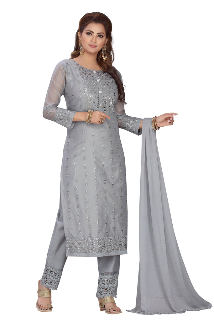 Grey Color Designer Chanderi Kurti with Straight Fit Pants and Matching Dupatta