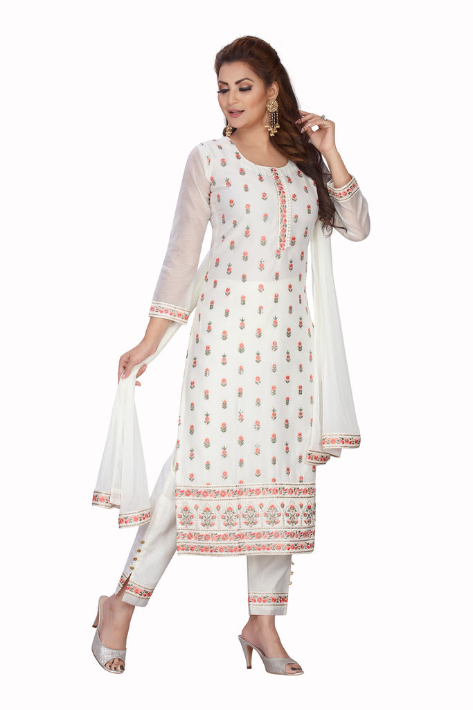 White Designer Printed Chanderi Kurti with Straight Fit Pants and Matching Dupatta