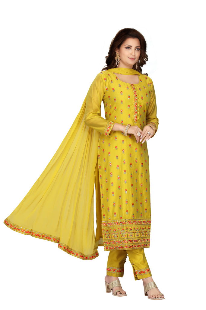 Yellow Designer Printed Chanderi Kurti with Straight Fit Pants and Matching Dupatta