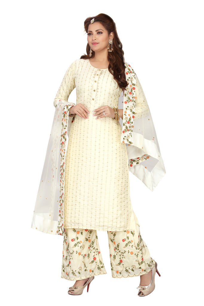 Cream Color Designer Chanderi Kurti with Palazzo & Matching Dupatta