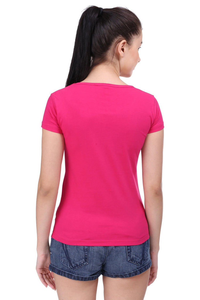 Premium Quality Plain Rani Pink Color Half Sleeve T-Shirt For Woman - thewardrobe-store-in