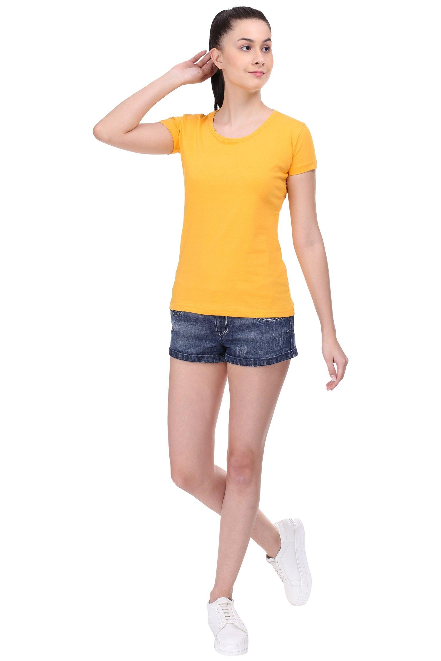 Premium Quality Plain Mango Yellow Color Half Sleeve T-Shirt For Woman - thewardrobe-store-in