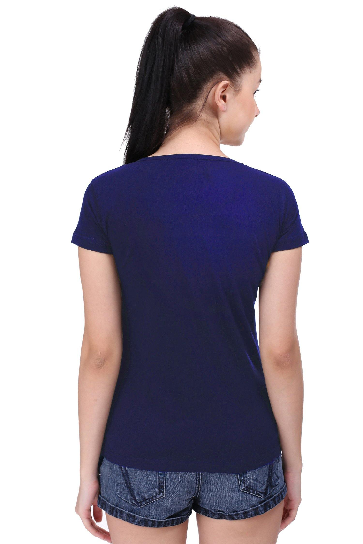 Premium Quality Plain Navy Blue Color Half Sleeve T-Shirt For Woman - thewardrobe-store-in