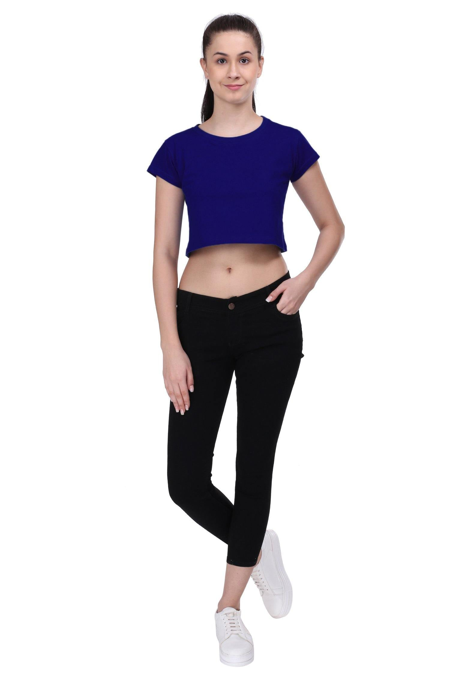 Premium Quality Plain Royal Blue Color Crop Top - thewardrobe-store-in