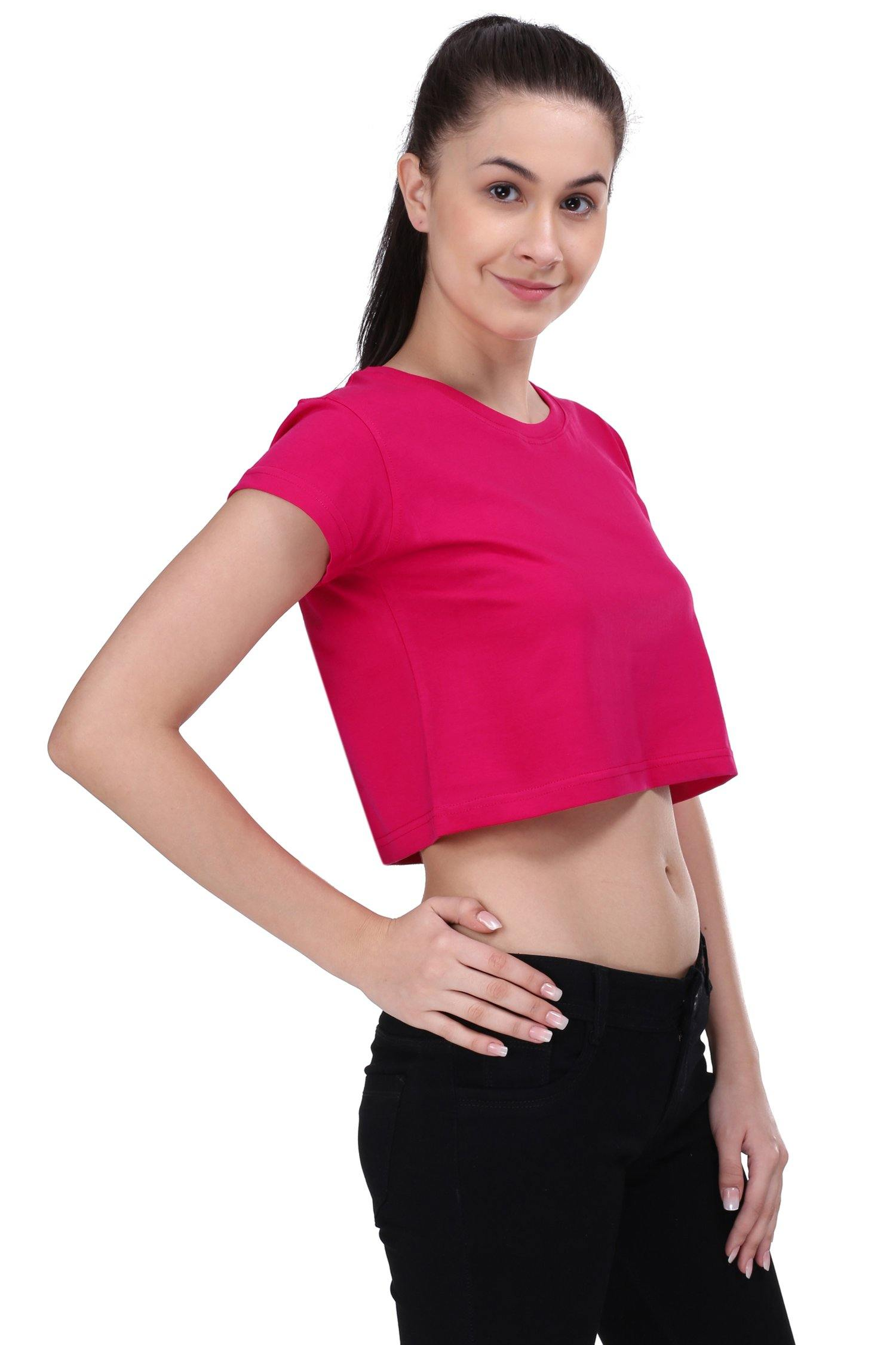 Premium Quality Plain Rani Pink Color Crop Top - thewardrobe-store-in