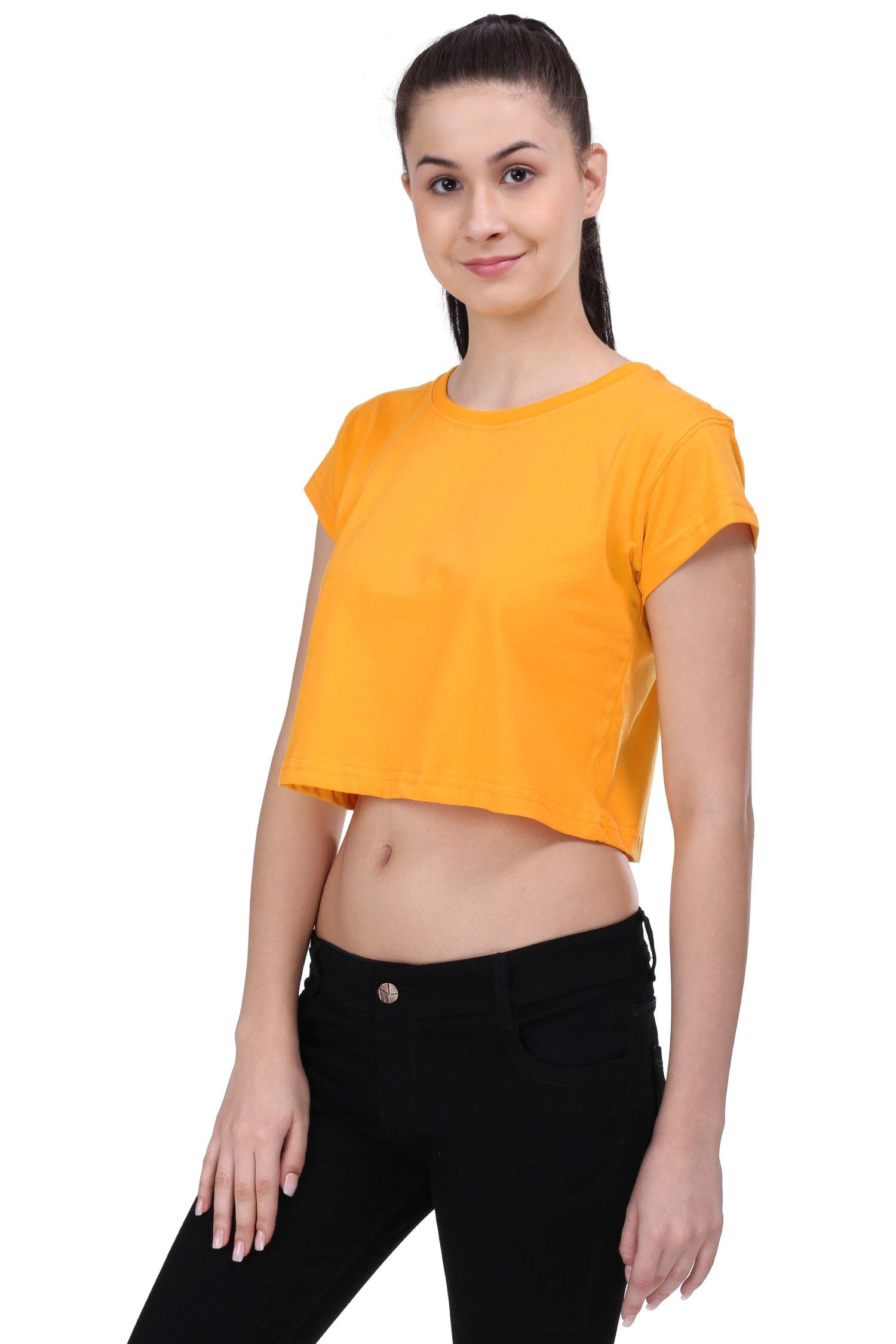 Premium Quality Plain Mango Yellow Color Crop Top - thewardrobe-store-in