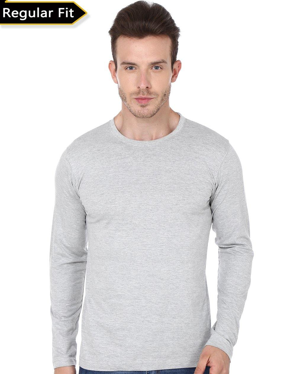 Premium Quality Plain Grey Color Full Sleeve T-Shirt For Men - thewardrobe-store-in