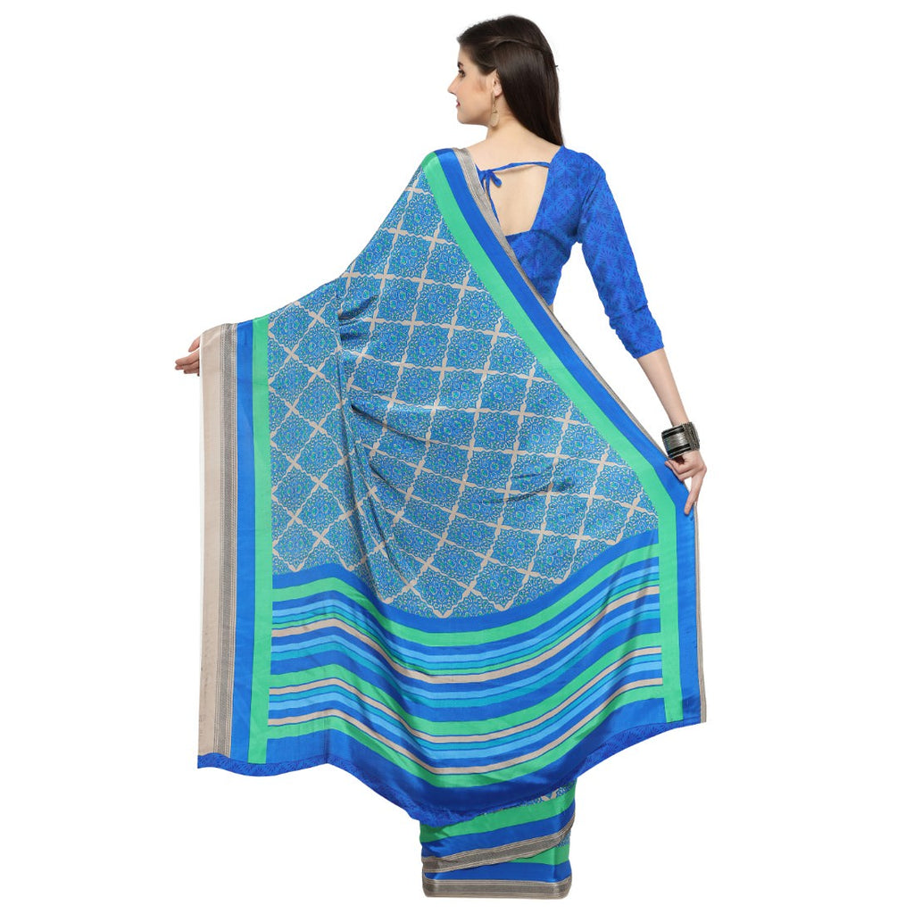 Crepe Fabric Blue Color Saree with Blouse