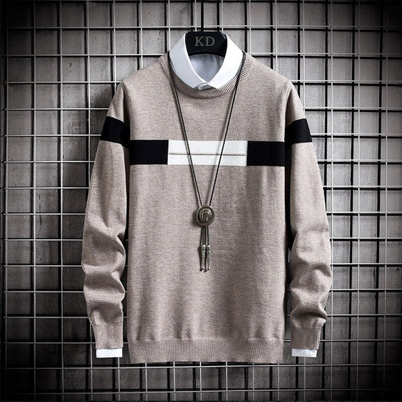 Sweater Men Streetwear Fashion Striped Pullover Men Knitwear Shirt Pull Homme Autumn Winter Cotton Sweaters men clothing