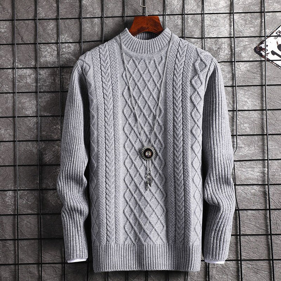 Half-high collar Sweaters Men Thick Warm Winter Sweater for Men New Casual Pull Homme Cotton Pullover Men Geometric Pattern Coat