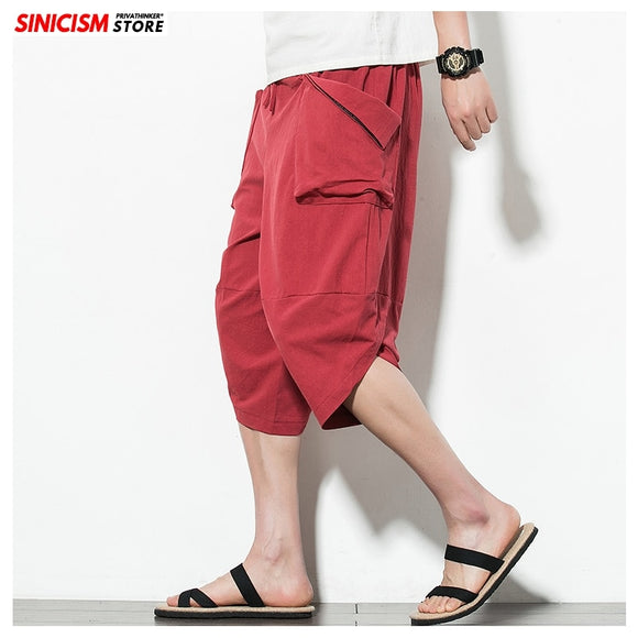 Sincism Store Japan Solid Color Men Summer Wide Leg Pants Man Casual  Calf-length Pants 2020 Male Baggy Harem Pants 5XL