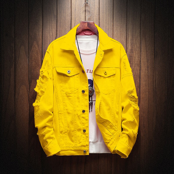 2020 New Men's Denim Jacket Yellow Pink Men's Street Clothing Denim Jacket Men's High Street Hole Hip Hop Casual Jeans Jacket