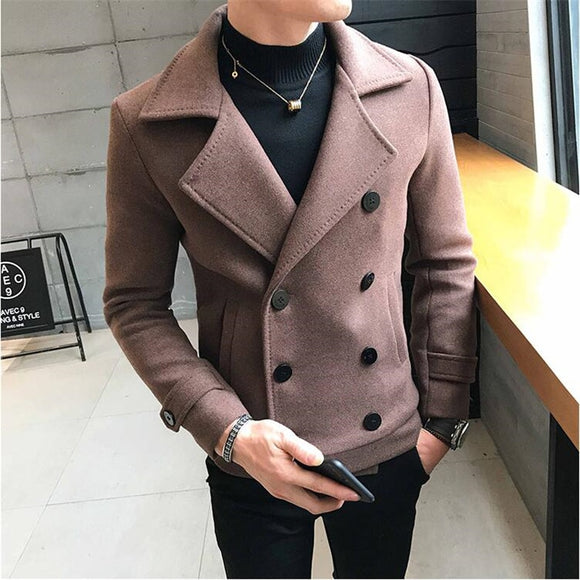 2020 New Fashion Men Double-Breasted Windbreaker Solid Color Slim Short Woolen Coat Winter Casual Warm Windbreaker Coat Size 5XL