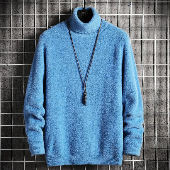 Sweater Men's 2020 Winter Mink Cashmere Pullovers Casual High Neck Soft Warm Jumper Autumn Mohair Sweaters Pull