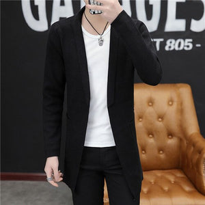 Men long style cardigan spring and autumn X-long knit sweater jackets solid color sweatercoat
