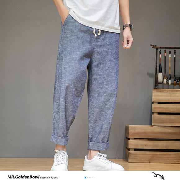 MrGoldenBowl Men's Solid Color Harem Pants 2020 Harajuku Man Cotton Linen Casual Trousers Plus Size Men Loose Pants 5XL