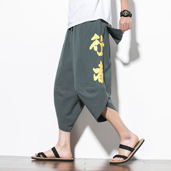 MrGoldenBowl 2020 Autumn Straight Harem Man Pants Chinese Style Man Loose Ankle-Length Trousers Streetwear Male Casual Pants