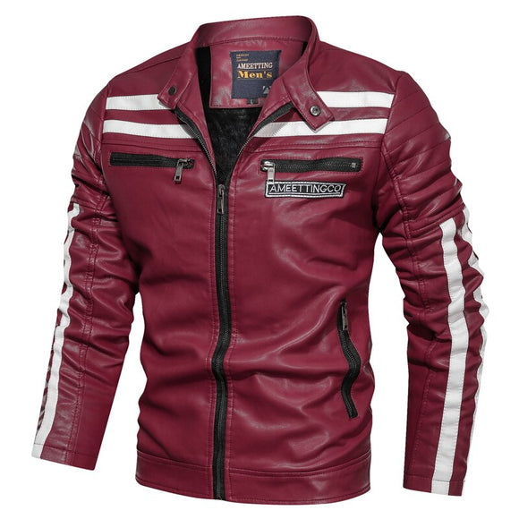 2019 new stitching leather jacket and coat fashion men's street casual motorcycle leather jacket winter men's plus velvet jacket