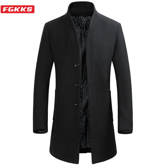 FGKKS Winter New Wool Blend Coats Men Quality Brand Men's Fashion Business Casual Wool Overcoat Long Section Wool Coat Male