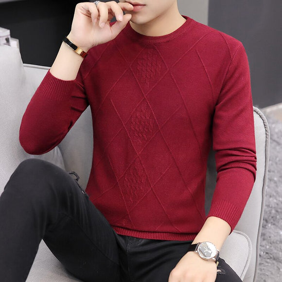 2020 Autumn Casual Men's Sweater O-Neck Striped Slim Fit Knittwear Mens Sweaters Pullovers Pullover Men Pull Homme