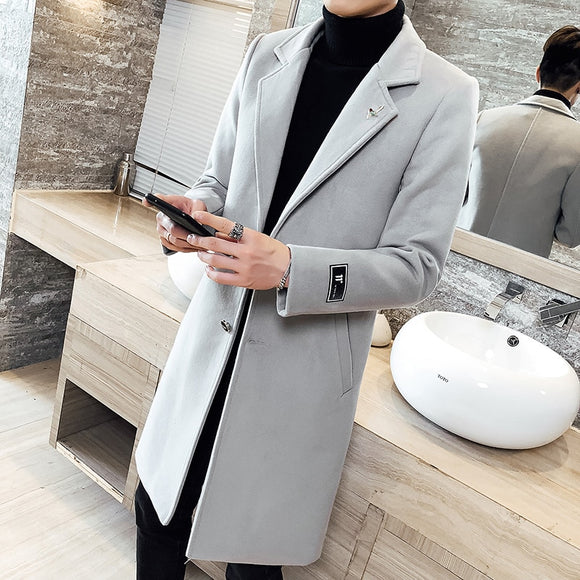 2019 Autumn Winter thick woolen coat Men's long section slim cardigan windbreaker jacket fashion men's solid color casual jacket