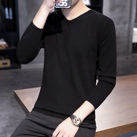 New Autumn Men'S Sweater Men'S Turtleneck Solid Color Casual Sweater Men's Slim Fit thin Knitted Pullovers