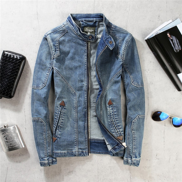 2019 Spring Autumn Men's Denim Jacket Casual Stand Collar Military Denim Jacket Men's Slim Retro Jeans Men's Short Denim Jacket