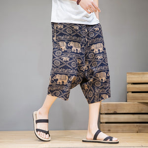 MrGoldenBowl Man Chinese Style Linen Straight Pants Mans Vintage Printed 2020 Pants Male Large Size Embroidery Summer Loose Pant
