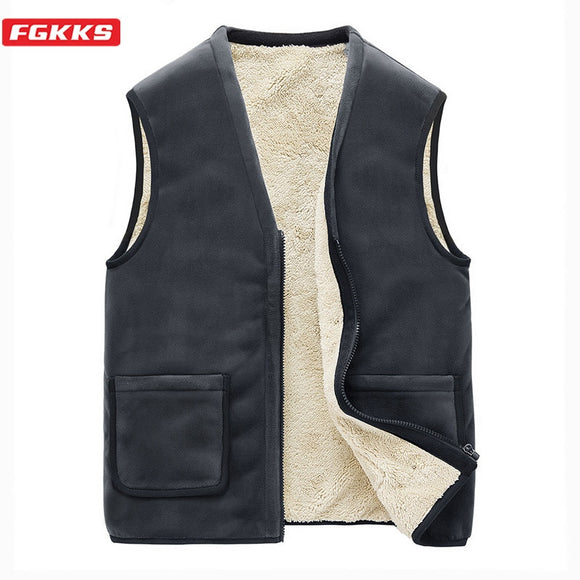 FGKKS Winter New Men Cashmere Vest Coats Men's Solid Color Casual Vest Outerwear Comfortable Warm Vest Male Brand Clothing