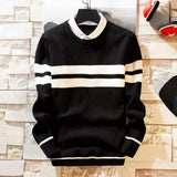Men's Pullover Shirt collar Sweaters New Autumn Clothing Knitting Fashion Casual Striped Homme Knitwear high quality Mens