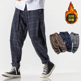 MrGB Men's Casual Oversize Thicken Warm Straight Pants Woman Plaid Harajuku Streetwear Trousers Male Fashion Vintage Pants
