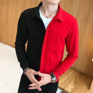 2019 Spring New Korean Version Patchwork Jacket Black Red Stitching Casual Slim Jacket Fashion Men Street Casual Hip Hop Jacket