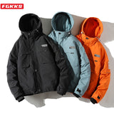 FGKKS Brand Winter Jackets Men Parka Casual Thick Winter Coat Men Solid Zipper Parka Male Clothes Overcoat Outerwear