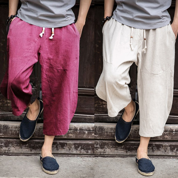 Sinicism Store Man Linen Cropped Cross Pant Trouser Men Casual Wide-Legged Bloomers Summer 2020 Male Traditional Nepal Trousers