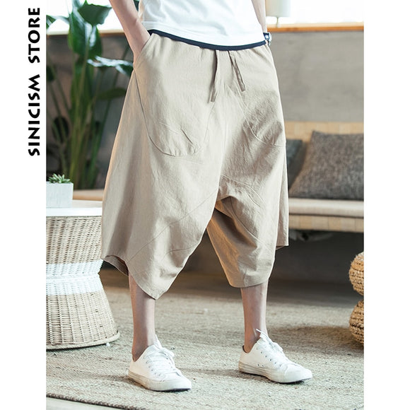 MrGoldenBowl 5XL Men's Wild Crotch Harem Pants Summer Baggy Pure Cotton Trousers Plus Size Male Wild-leg Loose Pants Drawstring