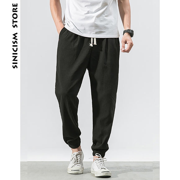 MrGoldenBowl 5XL Linen Harem Pants Mens Jogger Pants 2020 Male Casual Summer Track Pants Fitness Trousers Plus Size