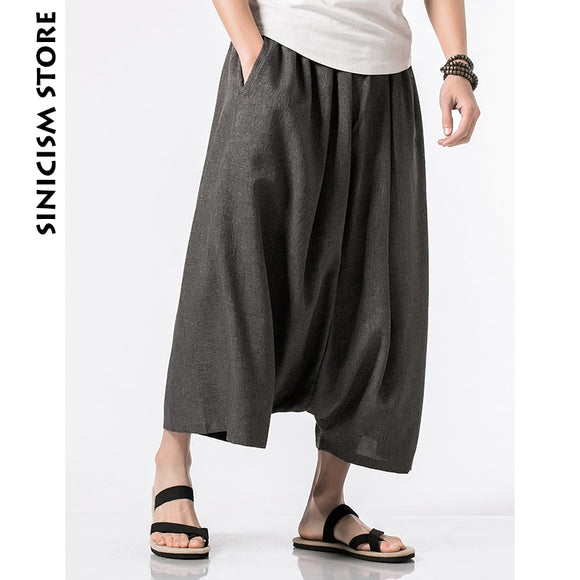 MrGoldenBowl Store Cotton Linen Harem Pants Mens Male Summer Casual Wild-Leg Pants 2020 Baggy Loose Trousers Flare Pants