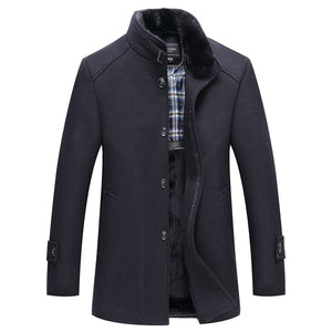 Genuine men's woolen coat, winter long section plus velvet thick woolen jacket, fashion casual business stand collar jacket 5XL