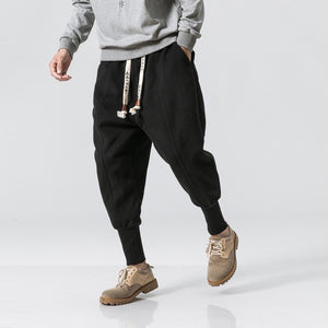 MrGoldenBowl Store Winter Pants Men 2020 Mens Harajuku Ankle Banded Joggers Pants Male Streetwear Thick Chinese Style Sweatpants