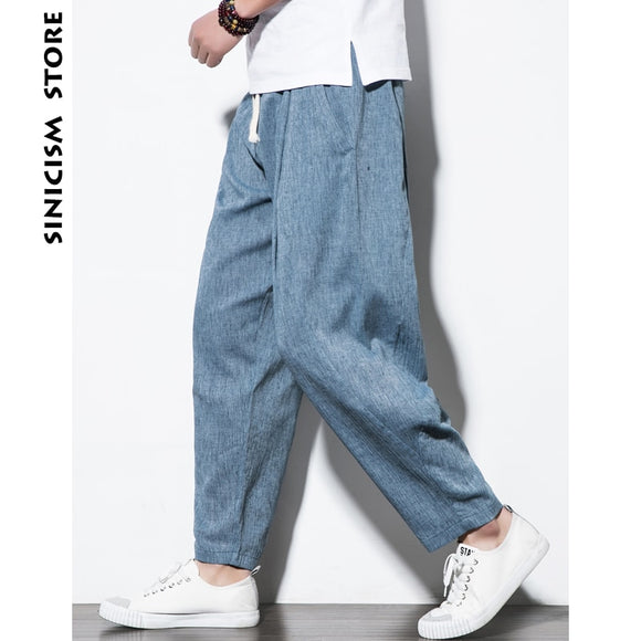 MrGoldenBowl Store Plus Size Cotton Linen Harem Pants Mens Jogger Pants 2020 Male Casual Summer Track Pants Trousers