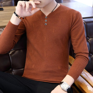 2019 Spring Autumn Casual Men's Sweater V-Neck Striped Slim Fit Knittwear Mens Sweaters Pullovers Pullover Men Pull Homme Tops