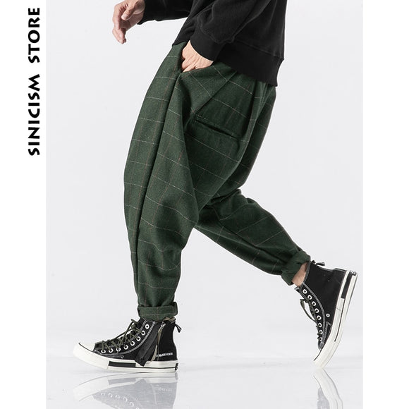 Sinicism Store Men Plaid Joogers Pants 2020 Mens Wool Thick Japanese Streetwear Harem Pants Male Vintage Sweatpants Trouser 5XL