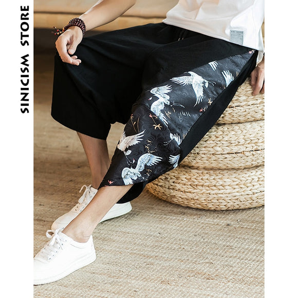 Sinicism Store Mens 2020 New Beach Pants Male Summer Casual Calf-Length Pants Man Ethnic Style Print Patchwork Loose Trousers